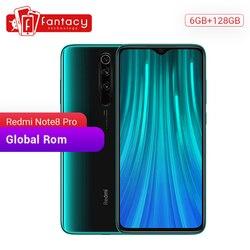 Rom global redmi nota 8 pro 6 gb 128 gb snapdragon mtk helio g90t 64 mp quad câmeras 7 geração qc 18 w carregador do telefone móvel