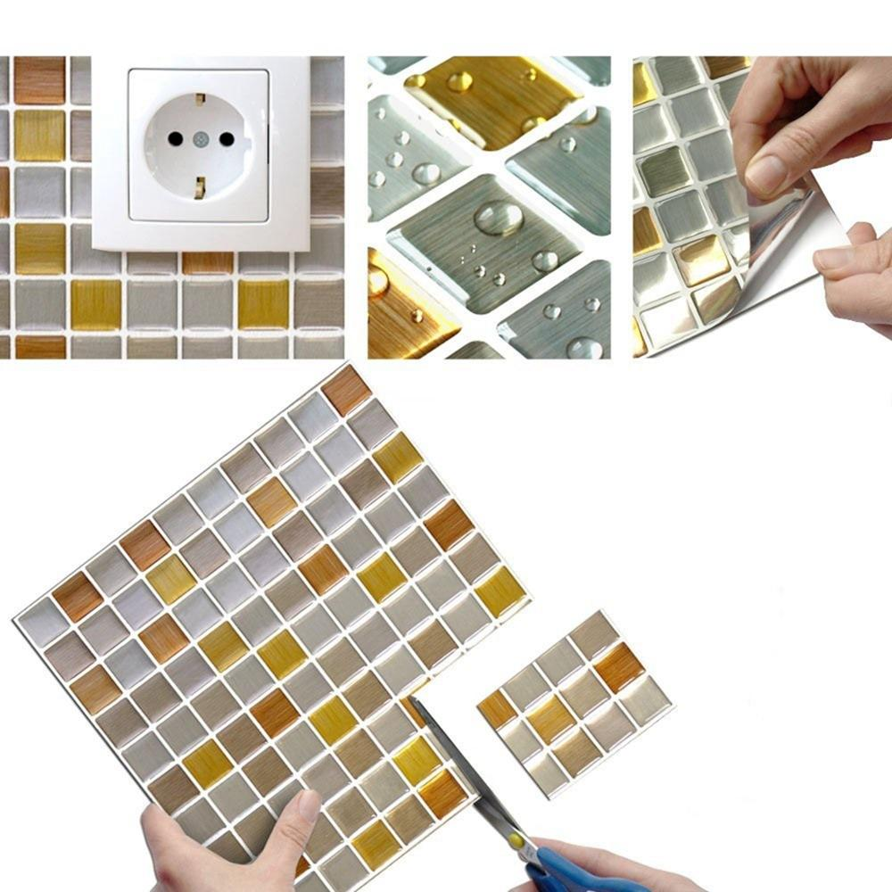 3D Wall Stickers Mosaic Self Adhesive Tile Backsplash Bathroom Kitchen Home Decor DIY Wall Sticker Vinyl 3D Sticker Paper