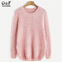 Dotfashion Rosa Casual Fuzzy Chunky Knit Pullover Frauen 2019 Herbst Langarm Süße Pullover Damen Solide Grund Top(China)