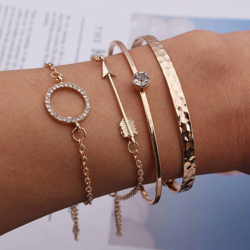 L015 Boho Round Crystal Arrow Triangle Cuff Bangle Multilayer Adjustable Open Chain Bracelet Set for Women Charm Party Jewelry