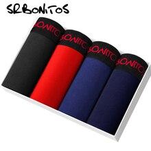 SRBONIOTOS marka 4 adet erkek iç çamaşırı erkek Boxer pamuk iç çamaşırı erkek boksörler Cueca 365 erkek külot şort külot