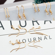 100pcs basic diy accessories high quality copper plated genuine gold color spring ear hook earrings