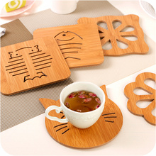 Wooden Cartoon Placemat Kitchen Accessories Heat-resistant/Non-slip Single Table Mat Coaster Cute Rabbit Whale Coasters