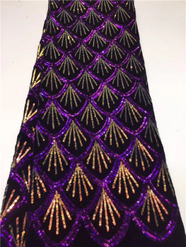High Quality 2019 Tulle French Nigerian Lace Fabrics Purple+Gold Sequins Embroidered African Lace Fabric 5yards/PC Z8