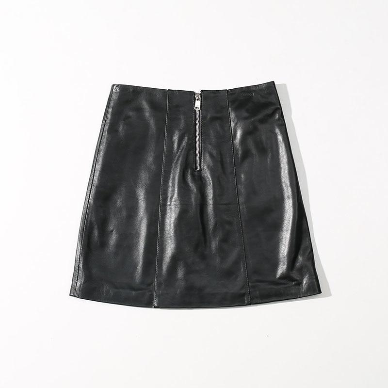 2020 юбки из натуральной кожи, Женская кружевная винтажная юбка, черная плиссированная мини юбка, сексуальная женская юбка из овечьей кожи