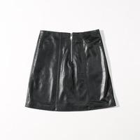 2020 Genuine Leather Skirts Women Lace Vintage Skirt Black Folded A line Skater Mini Skirt Sexy Sheepskin Leather Skirts Ladies