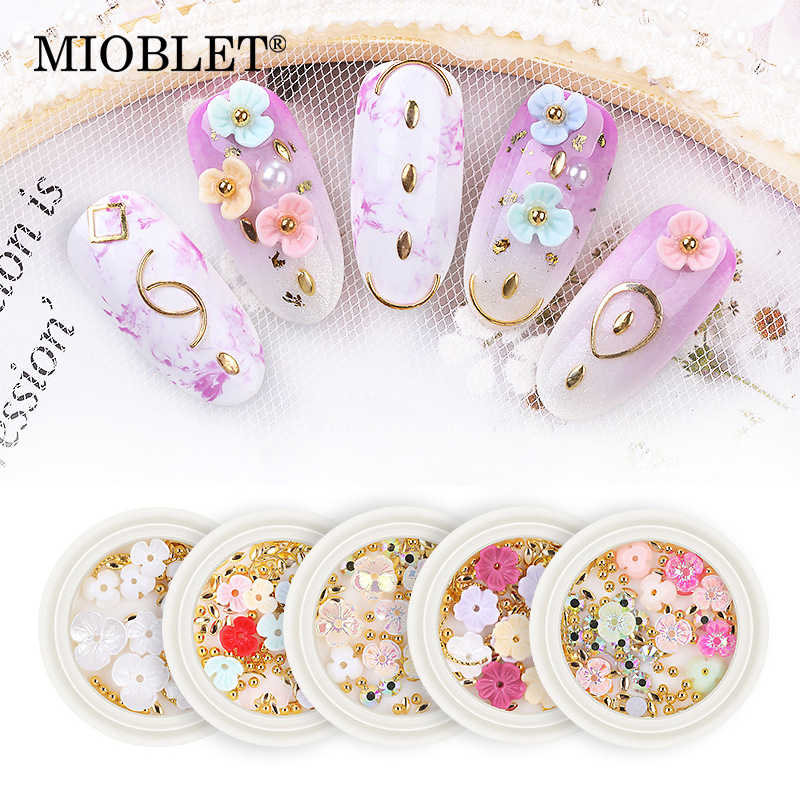 New Arrival 1 Box Gold Rivet 3D Nail Studs Hollow Shell Flower Nail Art Decorations DIY Flatback Glass Nail Rhinestones Manicure