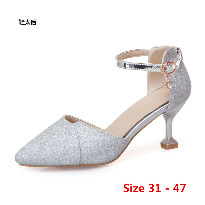 High Heels Sweet Stiletto Women Scarpin Wedding Party Shoes High Heel shoes D'Orsay Woman Pumps Small Big Size 31 - 47