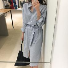 Women Striped Shirt Dress 2019 Autumn Korean Long Sleeve Stand Collar Dresses Lady Casual Vintage Button Midi With Belt