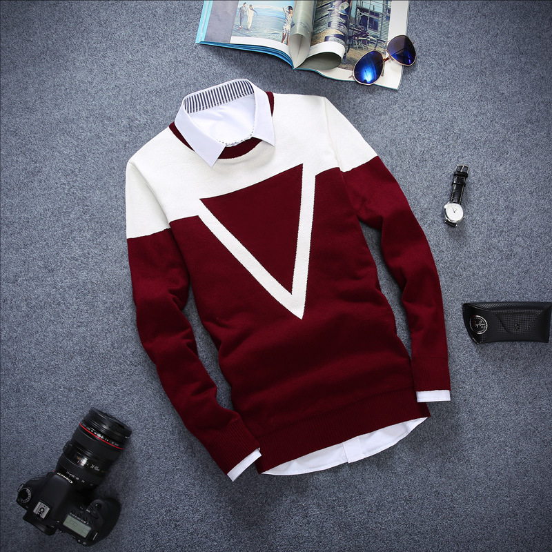 Fall 2019 Teenagers Color Matching Round Collar Turtleneck Sweater Cultivate One's Morality Men's Fashion Nabla Sweater