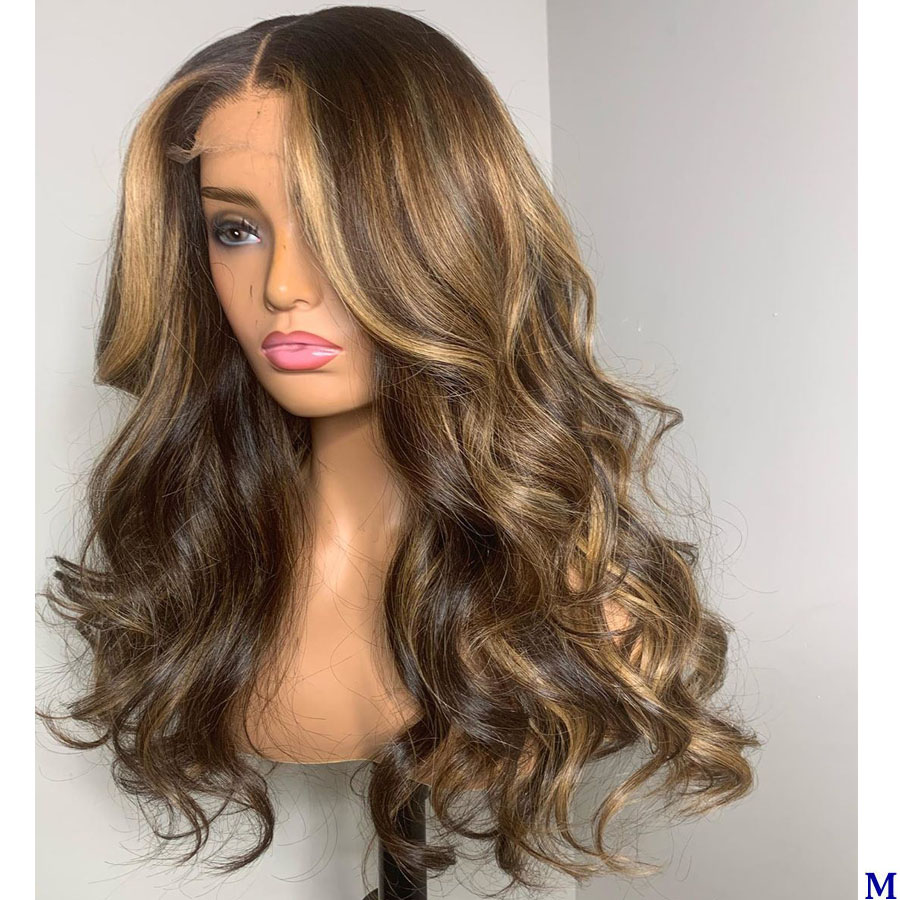 Peruvian Wavy Silk Top Full Lace Wigs For Black Women 150Density Highlight Blonde Transparent Lace Front Human Hair Wigs Remy