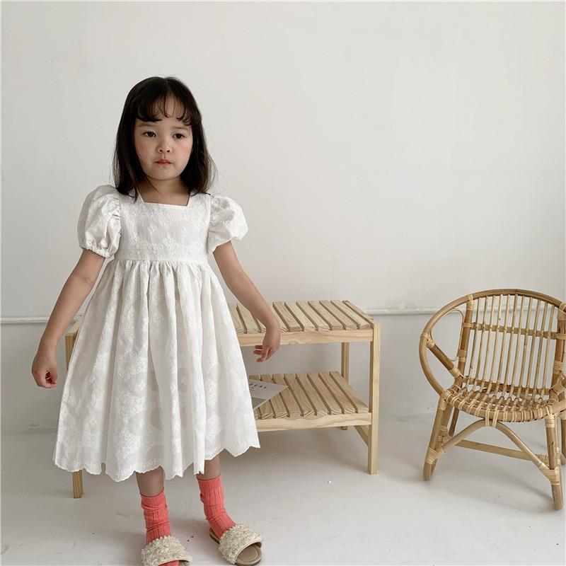 2020 verão coreano menina bordado vestido de renda cheia menina puff manga curta princesa vestido