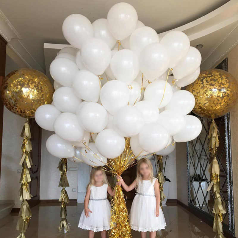 100/50Pcs Matte Putih Lateks Balon Ulang Tahun Pernikahan Dekorasi Pesta Air Helium Balon Anak Bayi Mandi Hadiah Baloons s6XN