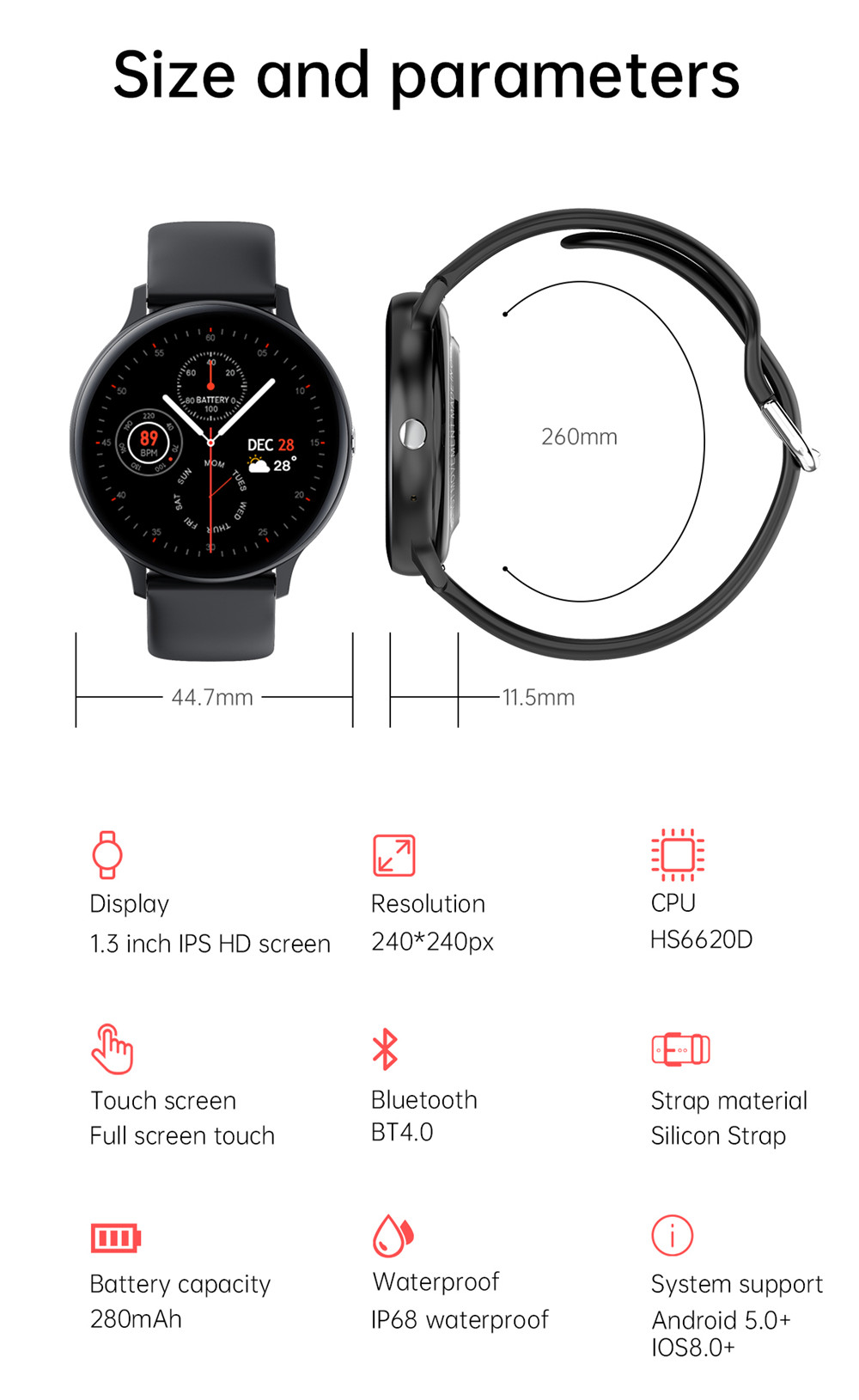 Smart Watch Men Bluetooth Call Play Music Fitness Bracelet Smartwatch Women IP67 Full Touch Sport Digital Watch For Android IOS