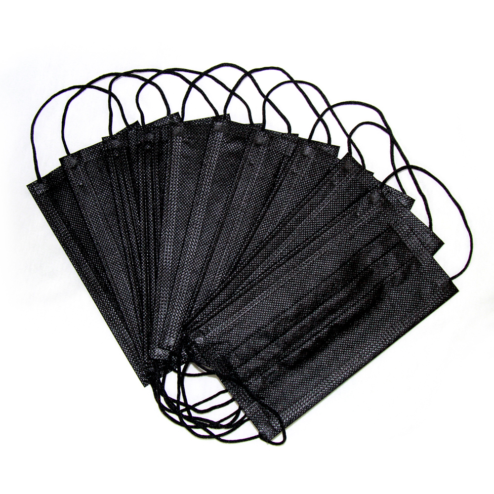 US CZ 50pcs Black Disposable Mask Mouth Face Filter Respirator Carbon 3-Layer Breathable Anti PM2.5 Air Pollution Face Masks