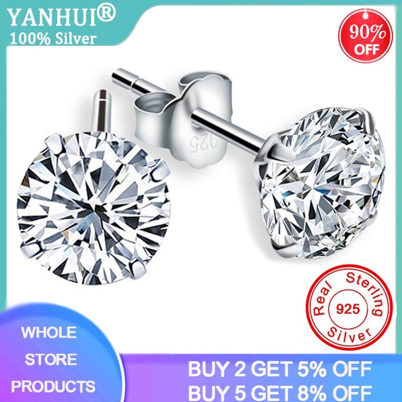 YANHUI Crystal From Swarovski Fashion Genuine 925 Sterling Silver Stud Earrings For Women Wedding Fine Jewelry Gift E0201