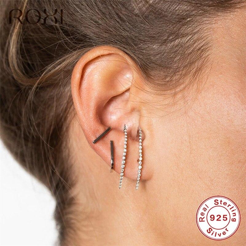 ROXI Minimalist  925 Sterling Silver Simple Geometric Stud Earrings For Women T Bar Line Zircon Studs Earring Wedding Jewelry
