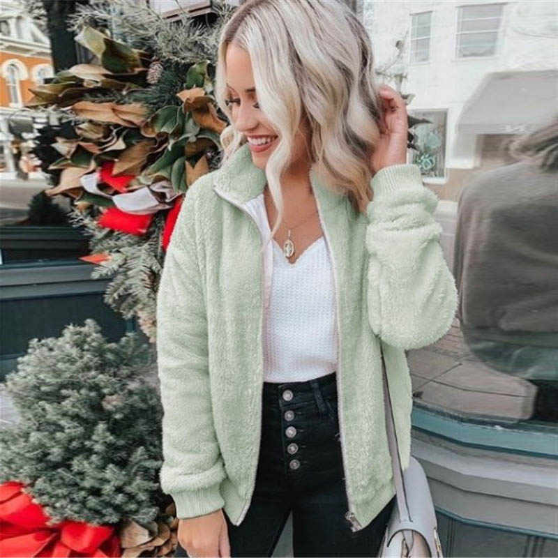 2019 Sherpa Bulu Sweter Plus Ukuran 5XL Fluffy Zipper Cardigan Teddy Fleece Mantel Multicolor Musim Dingin Hangat Sweater