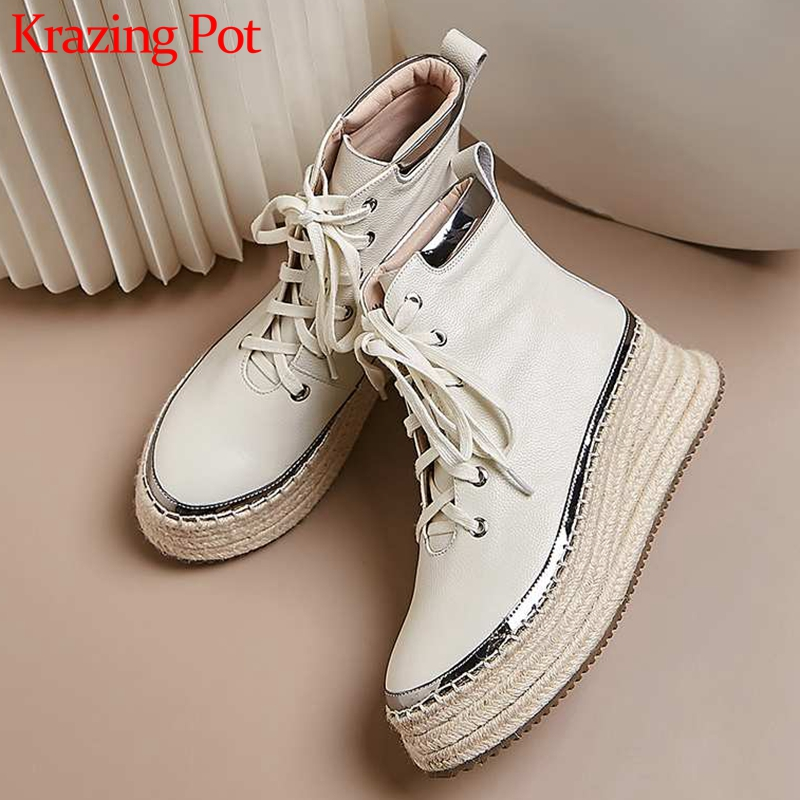 Krazing Pot waterproof thick bottom cow leather mixed colors lace up round toe high heels winter women new punk ankle boots L89 image