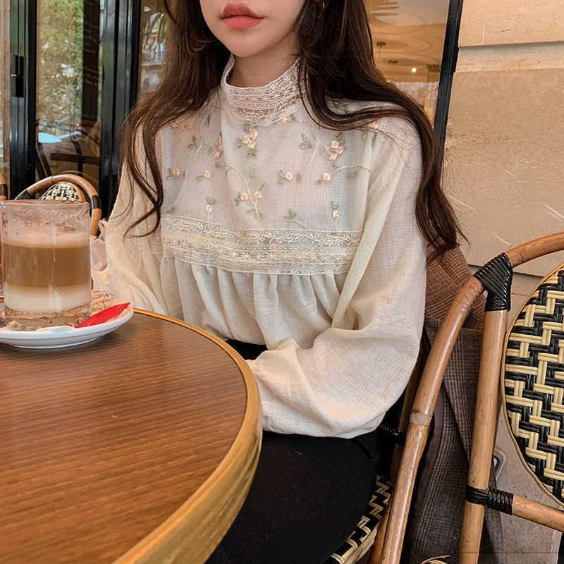 الغريبة كيتي جديد أنيق الدانتيل الوقوف طوق بلوزة قميص مثير الجوف خارج الأزهار التطريز Blouses البلوزات النساء طويلة الأكمام بلايز