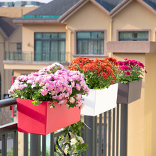 Self absorption balcony balustrade flowerpot wall hanging lacquer decor square flower pot hydroponics wall planter plant pot