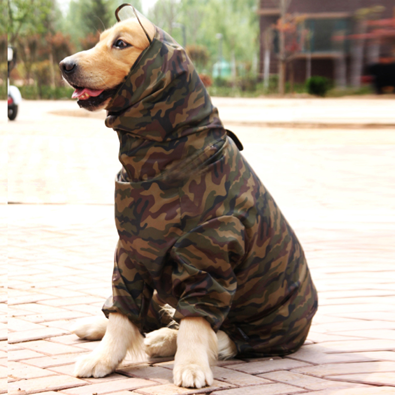 Pet Dog Camouflage Raincoat For Big Dogs Waterproof Outdoor Clothes Hooded Rain Cloak Jumpsuit Golden Retriever Overalls Labrado