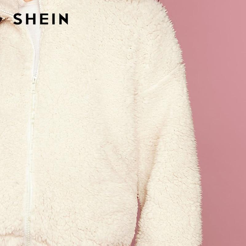 SHEIN White Funnel Neck Drop Shoulder Teddy Jacket Women Coats Winter Streetwear Long Sleeve Zipper Front Ladies Casual Outwear 6