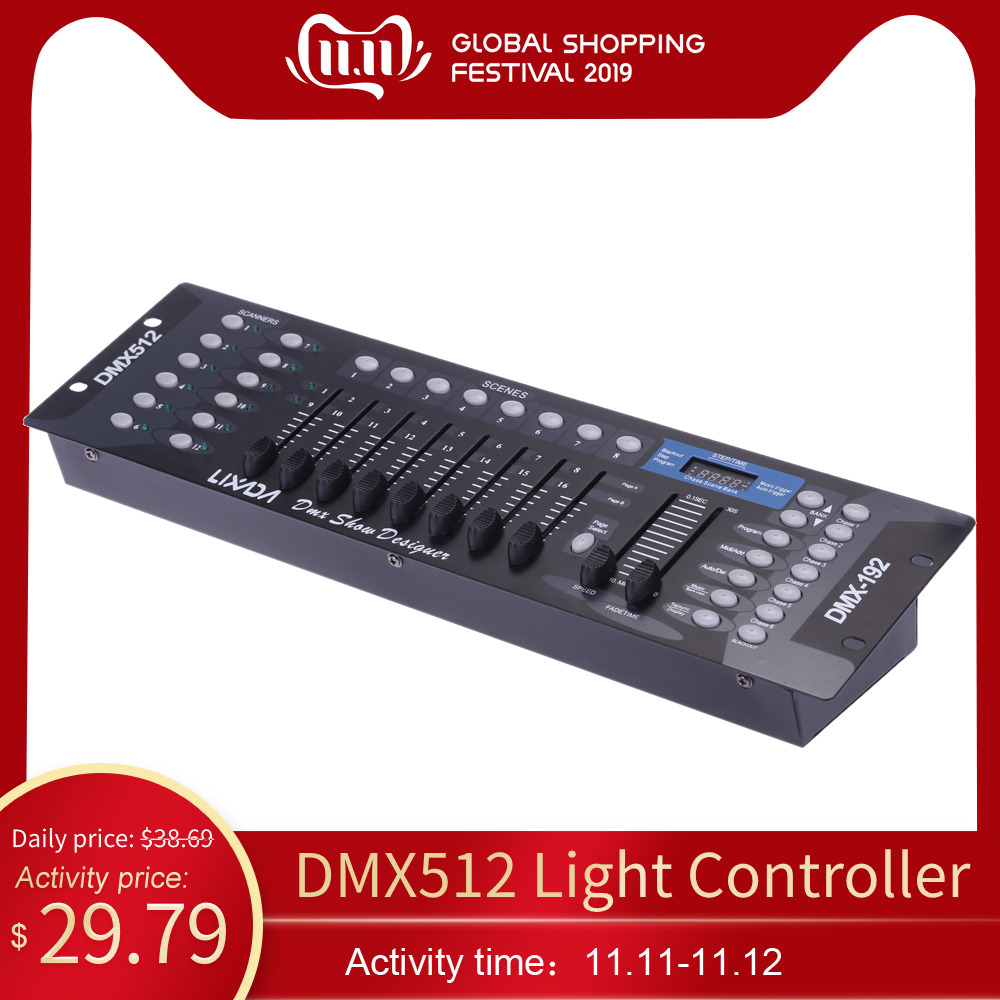 Lixada Disco Light Controller 192 Channels DMX512 Controller Console For Party DJ Stage Light KTV Bar Home Party