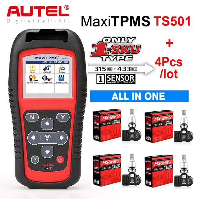 Autel TPMS Sensor MX Sensor 2 в 1 Инструменты для ремонта шин TPMS Sensor Support Программирование с TS501 TS508 равно 433 МГц + 315 МГц