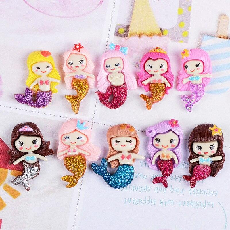 20pcs Baby Unicorn Lol Elsa Anna Snow Queen Princess Planar Resin Demo Flat Back Kawaii Planar Girls Character Hair Accessories