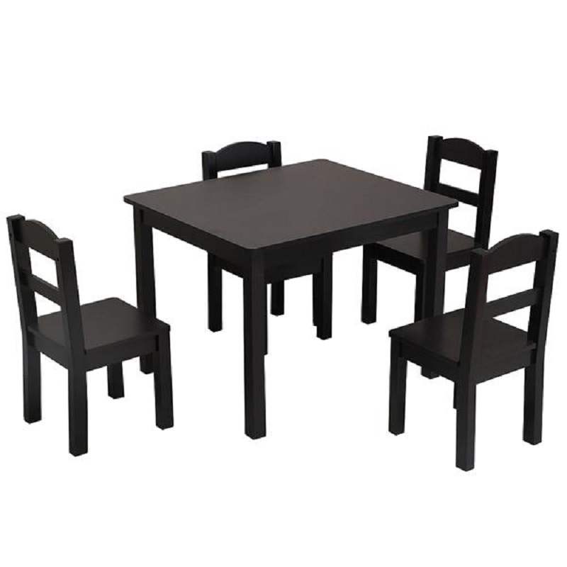 Wooden Table With 4 Wooden Chairs Furniture Set Espresso Solid Wood Dining Table And Chair Set Outdoor Patio Solid Table Chairs