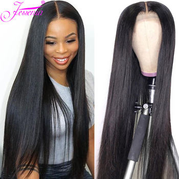34Inch Lace Closure Wigs Long Straight Hair Wigs Pre Plucked Nature Hairline Malaysian 4X4 Lace Front Remy Hair Wigs Perruque