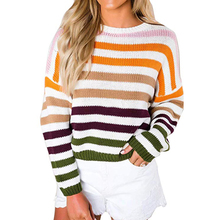Striped Sweaters 2019 Women Sweaters O-Neck Long Sleeve Loose Knitted Sweater Pullover Casual  Jumper Autumn Winter Female Tops цена 2017