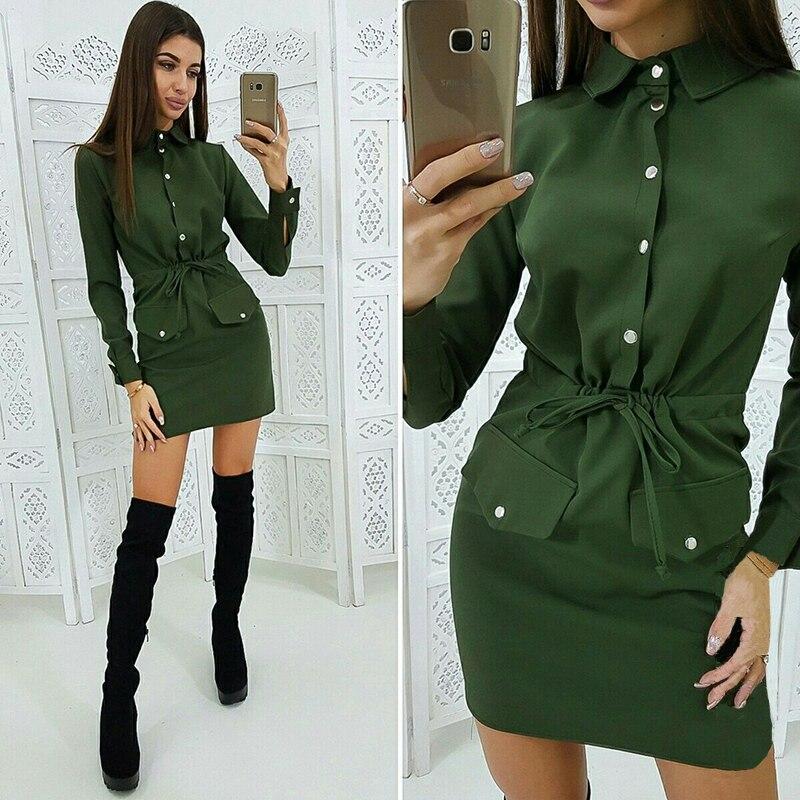 Women Casual Sashes Button Sheath Dress Turn Down Collar Long Sleeve Solid Dress 2019 Autumn Fashion Vintage Elegant Mini Dress