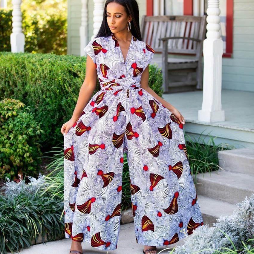Эластичный комбинезон размера плюс в африканском стиле для женщин, Дашики, Анкары, многоходовые, богемные этнические сексуальные длинные боди, брюки, наряды Африканская одежда      АлиЭкспресс