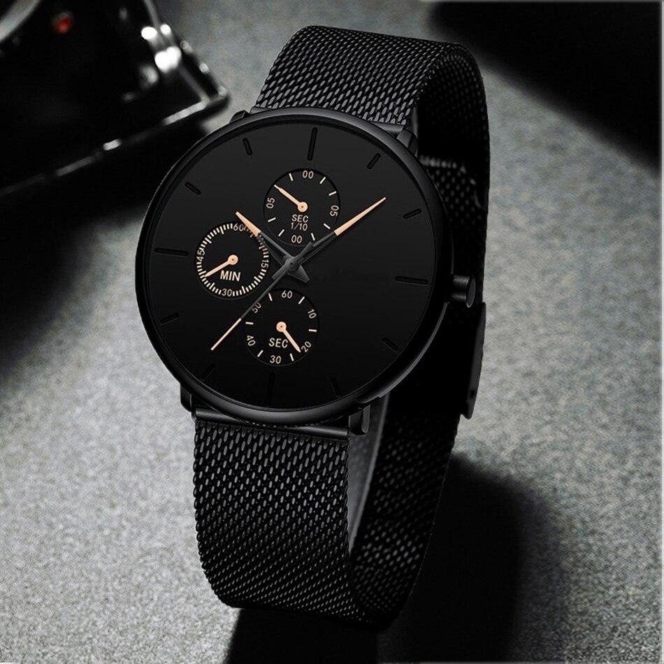H338e201285ba4297ba2c90334a6f18873 Mens Watches Male Luminous Quartz Watch Casual Slim Mesh Steel Waterproof Sport Watch 2020 Gift Relogio Masculino kol saati