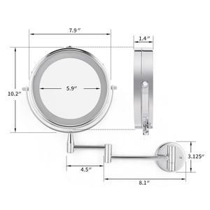 Image 4 - Banyo Led makyaj aynası 1X/3X 5X 7x büyütme duvara monte ayarlanabilir kol ayna çift kol uzatın 2 yüz kozmetik ayna