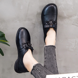 Image 5 - Gktinoo Nữ Đế Bằng Tay Giày Mùa Xuân, Mùa Thu 2019 Da Thật Chính Hãng Da Nữ Giày Giày Đế Bằng Nữ Da Retro Giày