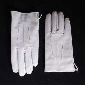 Image 1 - Couro Real De Couro GENUÍNO dos homens Inverno Quente Luvas Curtas Brancas