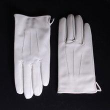 Mannen ECHT Leer ECHT Leer Winter Warm Wit Korte Handschoenen