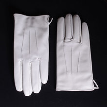 Mens Genuine  Leather Real Leather Winter Warm White Ceremonial  Short Gloves Police Gloves