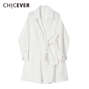 CHICEVER Women White Bandage Spllit Joint Shirt Dress New Lapel Long Sleeve Loose Fit Fashion Tide Spring Autumn 2020 2019 spring new women half sleeve loose flavour black dress long summer vestido korean fashion outfit o neck big sale costume