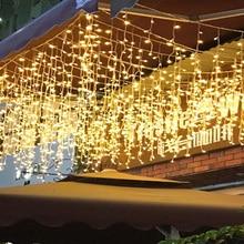 Led 문자열 조명 5m 16.5ft droop 0.4m 0.5m 0.6m 커튼 고드름 갈 랜드 결혼식 새 해 크리스마스 홈 야외 장식