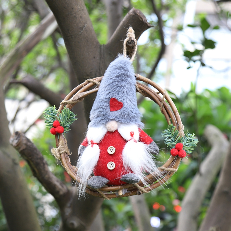 Plush Gnome Rattan Wreath Christmas Garlands With Swedish Santa Tomte Front Door Wreaths Home Kitchen Wall Window Hall Decor 1PC in Wreaths Garlands from Home Garden