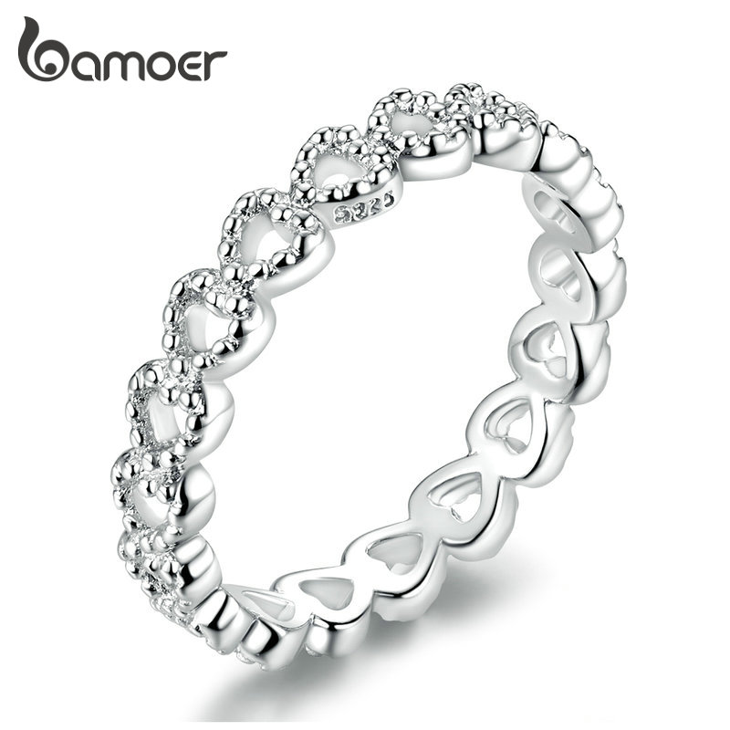 Bamoer Authentic 925 Sterling Silver Minimalist Simple Love Forever Heart Circle Ring Female Fine Jewelry Original Design GO7223