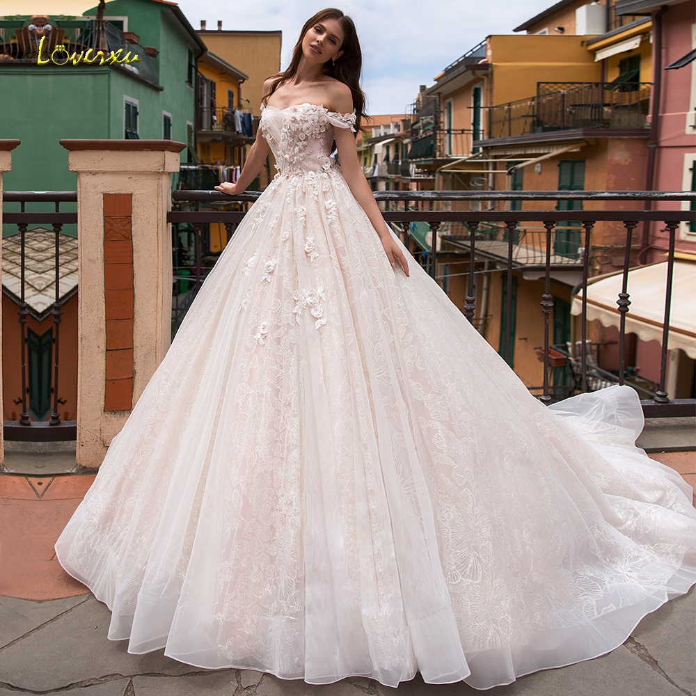 Loverxu Strapless Ball Gown Wedding Dresses Chic Appliques Beading Off The Shoulder Backless Bride Dress Court Train Bridal Gown