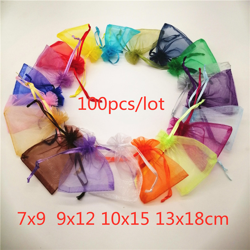 100pcs Drawstring Organza Bags 7x9 9x12 10x15 13x18 Jewelry Pouches Jewelry Packaging Bag Jewellery Bag Organza Jewelry Bags