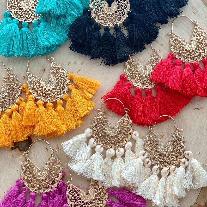 Богемные корейские серьги с большими кисточками для женщин, геометрические массивные серьги, ювелирные изделия, подарок Orecchini Pendientes Mujer, вечерние выходные