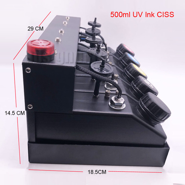 500ml UV Ink Cartridge Assembly CISS Stirring Motor Level Sensor Sound Light Alarm Ink Supply System for A3+ UV Inkjet Printers 5