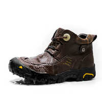 Big Size Men Hiking Shoes Waterproof Leather Hiking Boots Outdoor Non-slip Trekking Boots Anti Collision Mountain Climbing Boots